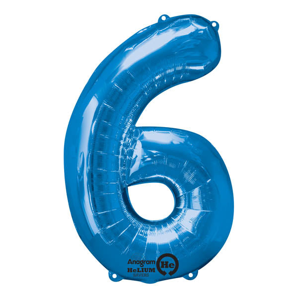 Shape Number Six Blue, Helium Saver (86cm High) Foil Balloon Self Sealing,  Air Filled or Helium Filled) - Each