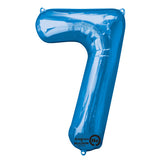 Shape Number Seven Blue, Helium Saver (86cm High) Foil Balloon Self Sealing,  Air Filled or Helium Filled) - Each