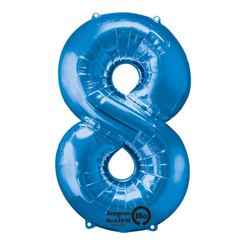 Shape Number Eight Blue, Helium Saver (86cm High) Foil Balloon Self Sealing,  Air Filled or Helium Filled) - Each