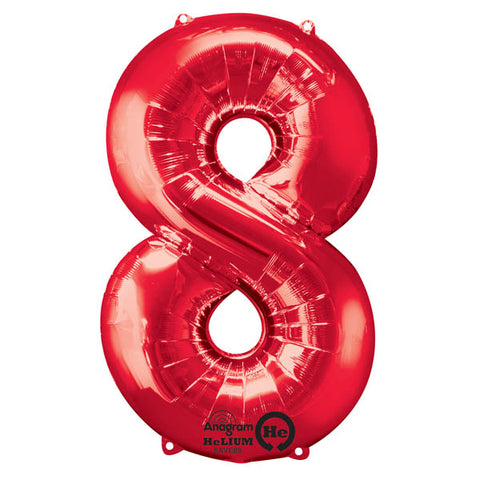 Shape Number Eight Red, Helium Saver (86cm High) (Foil Balloon Sealf Sealing Balloon, Air Filled or Helium Filled) - Each