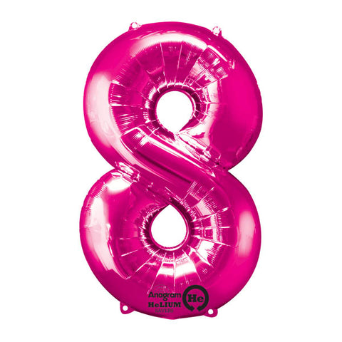 Shape Number Eight Pink, Helium Saver (86cm High) (Foil Balloon Sealf Sealing Balloon, Air Filled or Helium Filled) - Each