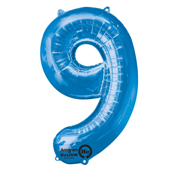Shape Number Nine Blue, Helium Saver (86cm High) Foil Balloon Self Sealing,  Air Filled or Helium Filled) - Each