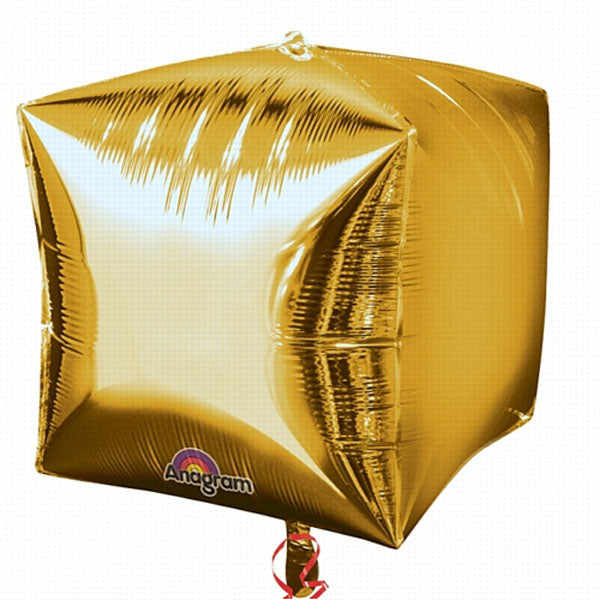 Shape Cubez Gold 38cm x 38cm Foil Balloon (Self Sealing balloon, Requires helium inflation) - Pack of 3