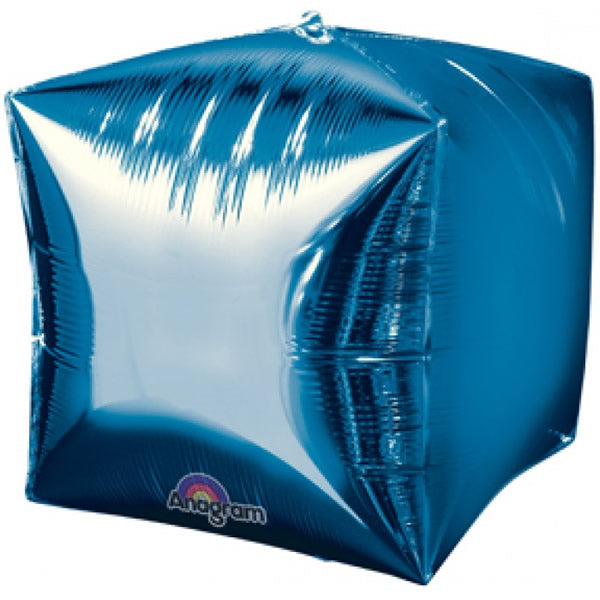Shape Cubez Blue 38cm x 38cm Foil Balloon (Self Sealing balloon, Requires helium inflation) - Pack of 3
