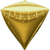 Shape Diamondz Gold 40cm x 43cm Foil Balloon (Self sealing balloon, Requires helium inflation) - Pack of 3