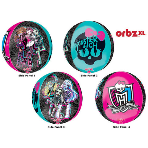 Shape Orbz Monster High 38cm x 40cm Foil Balloon (Self sealing balloon, Requires helium inflation) - Each