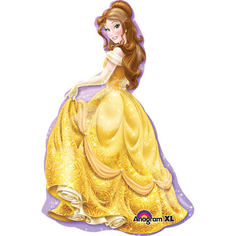 Shape Princess Belle Foil Balloon 60cm Wide x 99cm High (Self sealing balloon, requires helium inflation) - Each