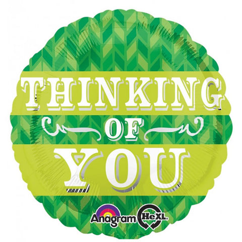 45cm Thinking of You Green Chevron Foil Balloon (Self sealing balloon, Requires helium inflation) - Each