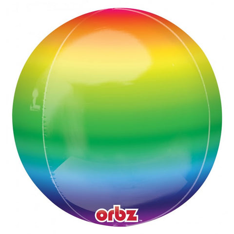 Shape Orbz Rainbow Design 38cm x 40cm Foil Balloon (Self sealing balloon, Requires helium inflation) - Each