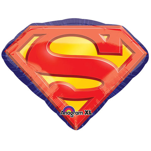 Shape Superman Emblem 66cm x 50cm Foil Balloon (Self sealing balloon, requires helium inflation) - Each