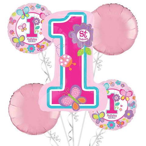 Sweet 1st Birthday Girl Bouquet 1 x Shape & 4 x 45cm Foil Balloons (Self sealing balloons, Requires Helium inflation) - Pack of 5