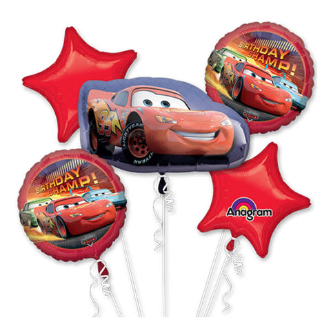 Disney Cars Bouquet 1 x Shape & 4 x 45cm Foil Balloons (Self sealing balloons, Requires Helium inflation) - Pack of 5