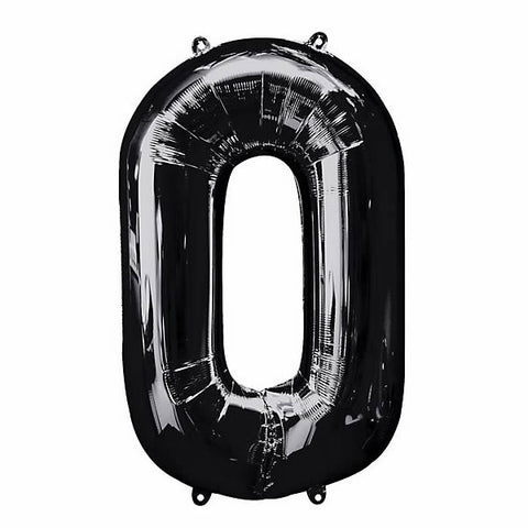 Shape Number Zero Black Helium Saver (86cm High) Foil Balloon Self seal Balloon, Air-filled or Helium filled) - Each