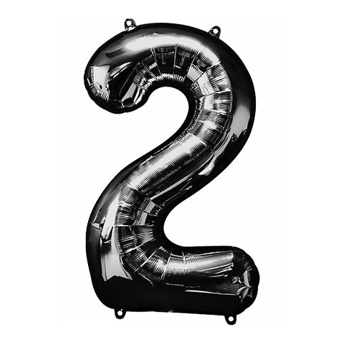 Shape Number Two Black Helium Saver (86cm High) Foil Balloon Self seal Balloon, Air-filled or Helium filled) - Each