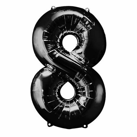 Shape Number Eight Black Helium Saver (86cm High) Foil Balloon Self seal Balloon, Air-filled or Helium filled) - Each