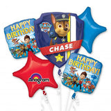 Paw Patrol Bouquet Happy Birthday!  - 1 x Shape & 4 x 45cm Foil Balloons (Self sealing balloons, Requires helium inflation) - Pack of 5