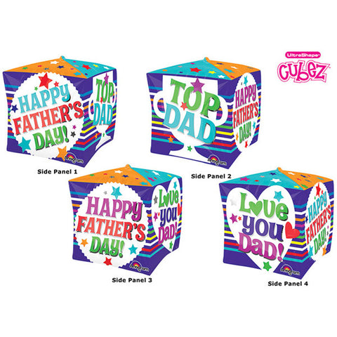 Shape Cubez Happy Father's Day - Love You Dad 38cm x 38cm Foil Balloon (Self sealing balloon, Requires helium inflation) - Each
