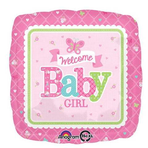 45cm Welcome Baby Girl Butterfly Foil Balloon (Supplied airfilled on balloon cup & stick) - Each