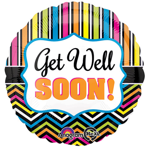 45cm Get Well Soon! Chevron & Stripes Foil Balloon (Self sealing balloon, Requires helium inflation) - Each