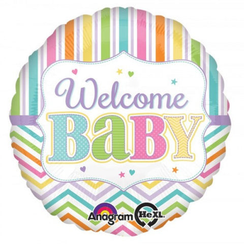 45cm Welcome Baby Brights Chevron & Stripes Foil Balloon (Self sealing balloon, Requires helium inflation) - Each