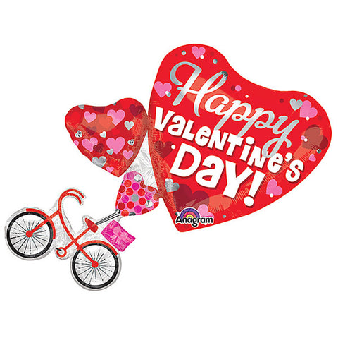 Shape Bike & Hearts Happy Valentine's Day! 66cm x 76cm Foil Balloon (Self sealing balloon, requires helium inflation) - Each