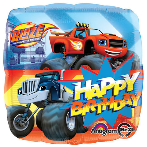 45cm Blaze & the Monster Machines Happy Birthday Foil Balloon (Self sealing balloon, requires helium inflation) - Each