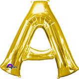 Letter A Gold 86cm Helium Saver (Self Sealing Balloon - Can be Air Filled or Helium Filled) - Each