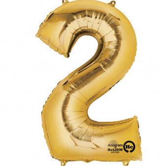 Number Two Gold Megaloon 40cm Foil Balloon (Self Sealing Balloon -  Air Filled Only) Complete with Straw to Self Inflate - Packaged - Each
