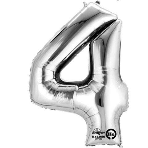 Number Four Silver Megaloon 40cm Foil Balloon (Self Sealing Balloon -  Air Filled Only) Complete with Straw to Self Inflate - Packaged - Each