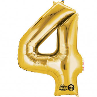 Number Four Gold Megaloon 40cm Foil Balloon (Self Sealing Balloon -  Air Filled Only) Complete with Straw to Self Inflate - Packaged - Each