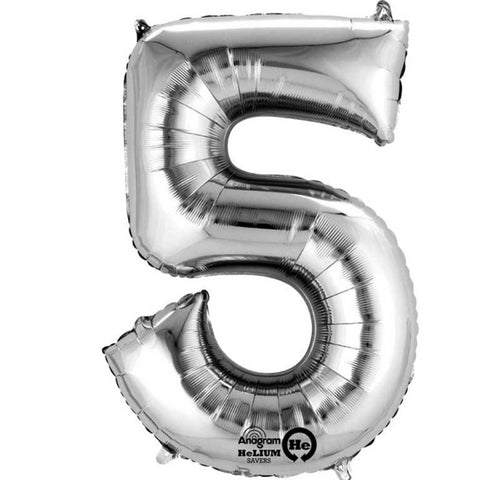 Number Five Silver Megaloon 40cm Foil Balloon (Self Sealing Balloon -  Air Filled Only) Complete with Straw to Self Inflate - Packaged - Each