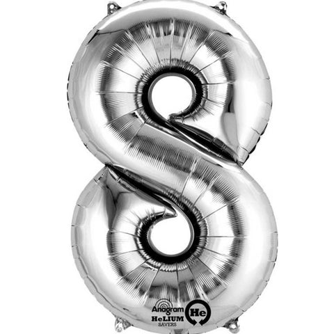 Number Eight Silver Megaloon 40cm Foil Balloon (Self Sealing Balloon -  Air Filled Only) Complete with Straw to Self Inflate - Packaged - Each