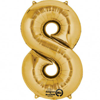 Number Eight Gold Megaloon 40cm Foil Balloon (Self Sealing Balloon -  Air Filled Only) Complete with Straw to Self Inflate - Packaged - Each