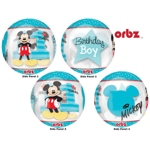 Shape Orbz Mickey 1st Birthday Fun To Be One 38cm x 40cm Clear See Thru Balloon (Self sealing balloon, Requires helium inflation) - Each