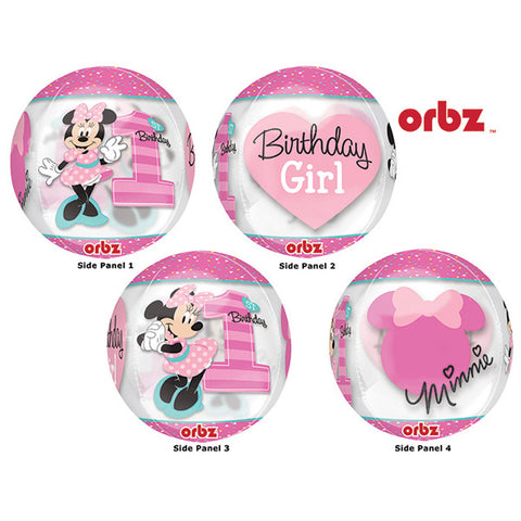 Shape Orbz Minnie 1st Birthday Fun To Be One 38cm x 40cm Clear See Thru Balloon (Self sealing balloon, Requires helium inflation) - Each