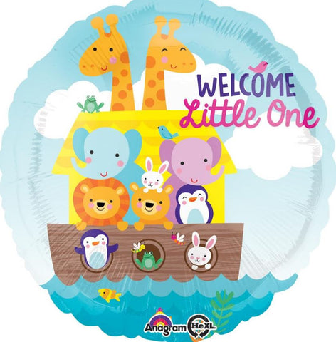 45cm Noah's Ark Baby Shower Welcome Little One Foil Balloon (Self sealing balloon, Requires Helium inflation) - Each