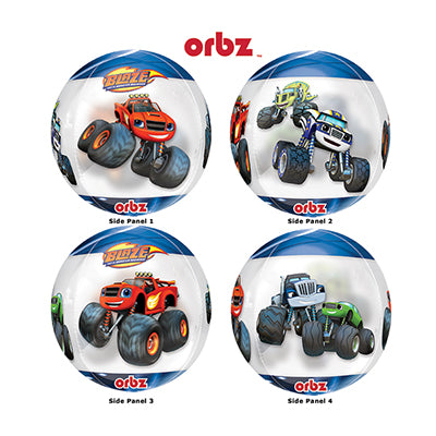 Shape Orbz Blaze & The Monster Machines 38cm x 40cm Clear Balloon See Thru  (Self sealing balloon, requires helium inflation) - Each