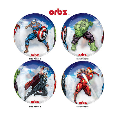 Shape Orbz Avengers 4 Sided Design 38cm x 40cm Clear Balloon See Thru (Self sealing balloon, requires helium inflation) - Each