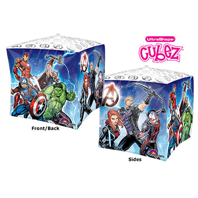 Shape Cubez Avengers 2 Sided Design 38cm x 38cm Foil Balloon (Self sealing balloon, Requires helium inflation) - Each
