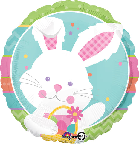 45cm Happy Hop Easter Bunny Rabbit Foil Balloon (Self Sealing Balloon, Requires Helium Inflation) - Each