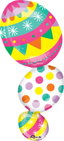 Shape Easter Egg Stack 43cm x 96cm Foil Balloon (Self Sealing Balloon, Requires Helium Inflation) - Each