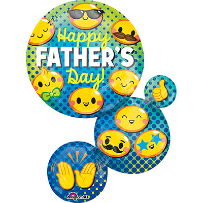 Shape Happy Father's Day! Emoji Bubble Faces 55cm x 71cm Foil Balloon (Self Sealing Balloon, Requires Helium Inflation) - Each