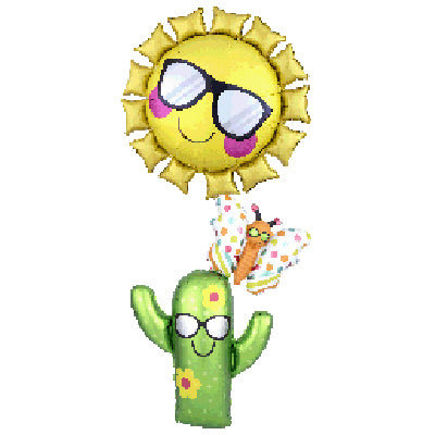 Shape Fun in The Sun Butterfly & Cactus Stacker 71cm x 160cm Foil Balloon (Self Sealing Balloon, Requires Helium Inflation) - Each