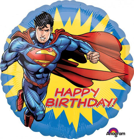 45cm Superman Happy Birthday! Foil Balloon (Self Sealing Balloon, Requires Helium Inflation) - Each