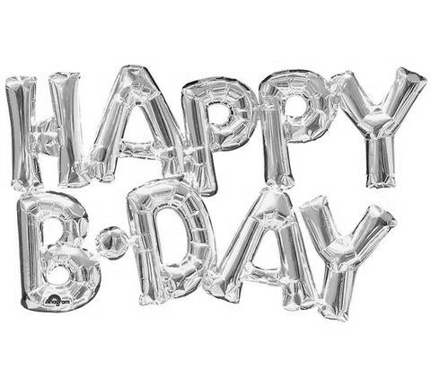 Shape Script HAPPY BIRTHDAY Silver