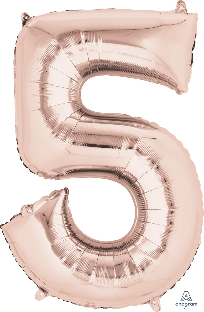Shape Number Five Rose Gold 86cm Foil Balloon (Self sealing Balloon, can be air-filled or Helium filled) - Each