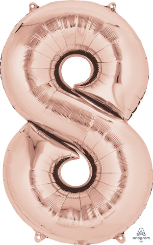Shape Number Eight Rose Gold 86cm Foil Balloon (Self sealing Balloon, can be air-filled or Helium filled) - Each