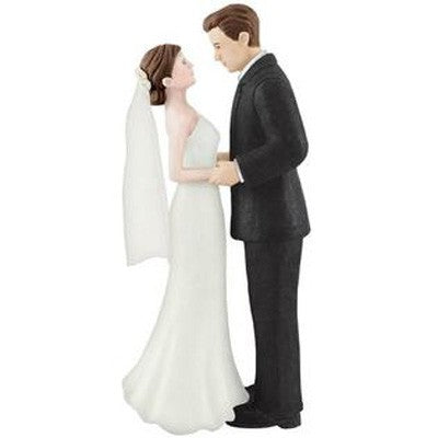 Cake Topper Bride & Groom Brown Haired Bride