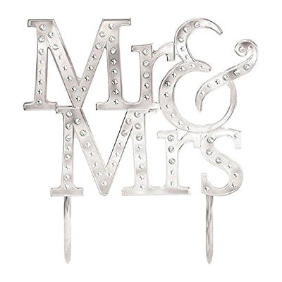 Cake Topper Silver Mr & Mrs & Gems 13cm  - Each