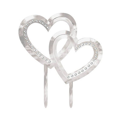 Cake Topper Silver Double Hearts & Gems 11cm x 13cm Great for Engagements & Weddings - Each